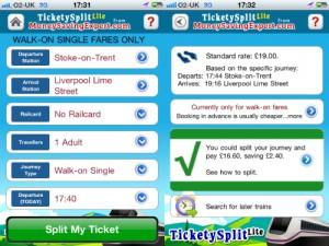 Screenshots of Tickety Split from Money Saving Expert
