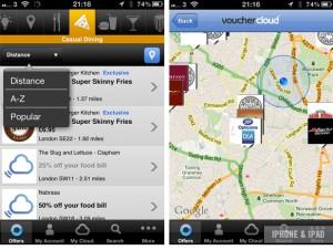 Screenshots of the VoucherCloud App